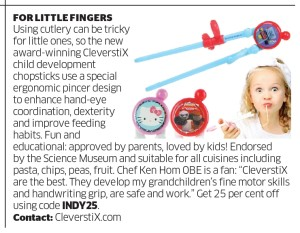 "Independent newspaper Parent section with CleverstiX 21 March 2015 - use code ""INDY25"" for 25% off CleverstiX.com"