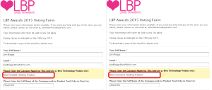 LBP Awards 2015 Voting Form