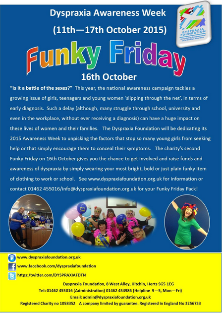 Dyspraxia Awareness Week: Funky Friday Poster 2015