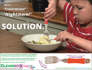 Clever Fork & Spoon Set Advertisement, page 108 of Progressive Preschool Magazine: Issue 25 SEPT/OCT 2016