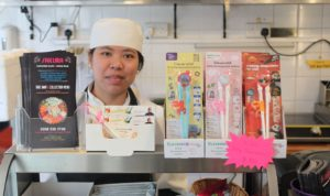 CleverstiX on display in Sakura Sushi Bar with owner Cherry